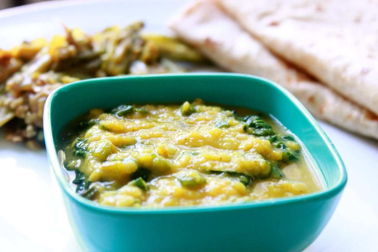Palak Daal/Red Lentils with Spinach