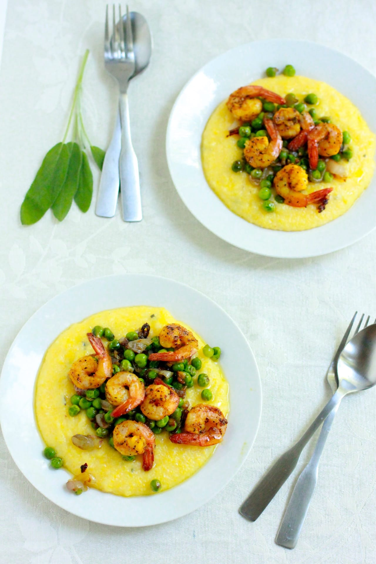 Polenta with Crispy Peas and Roasted Shrimp | Playful Cooking