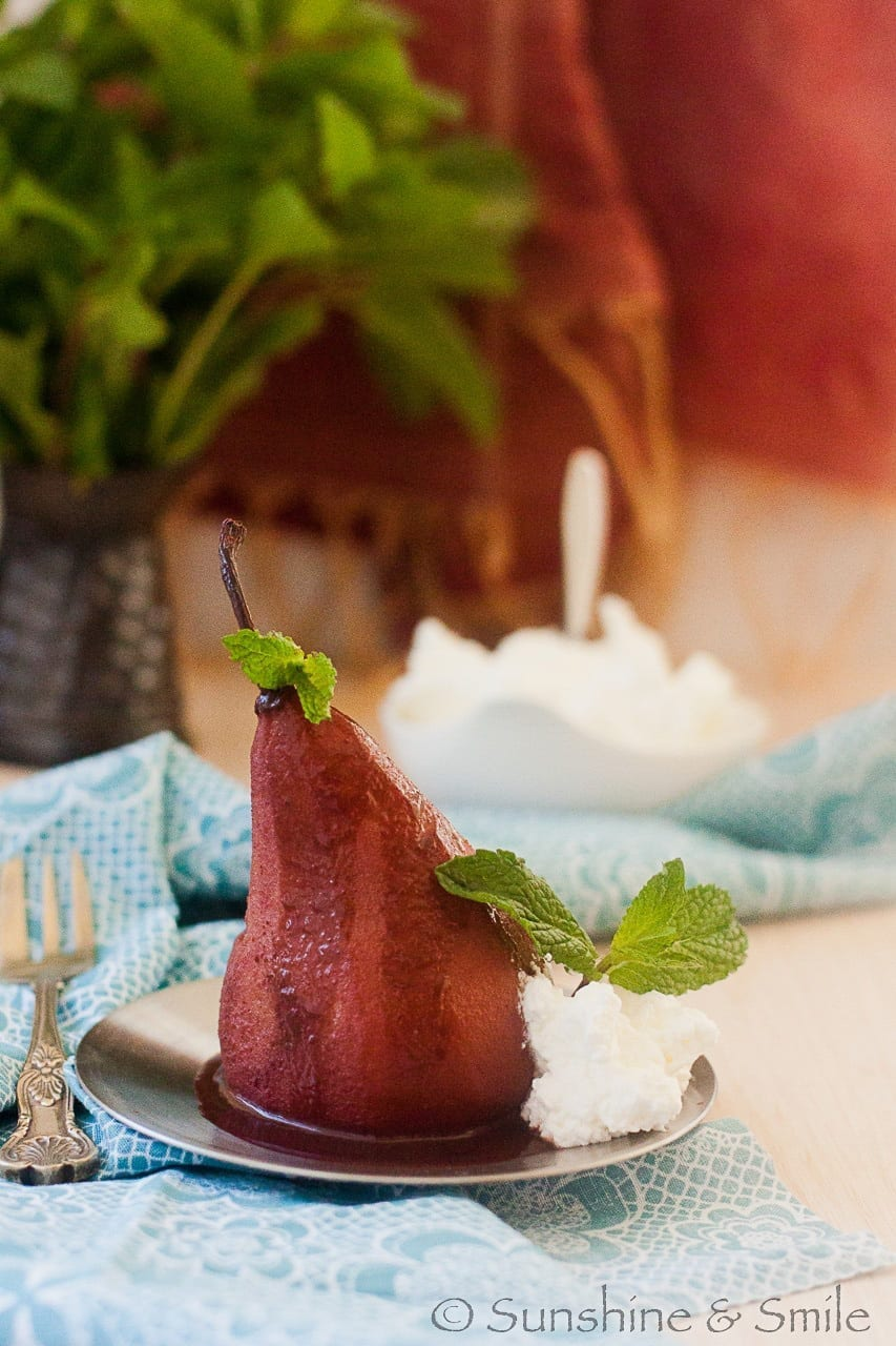Wine poached Pear with Chocolate and Mint sauce   Playful Cooking