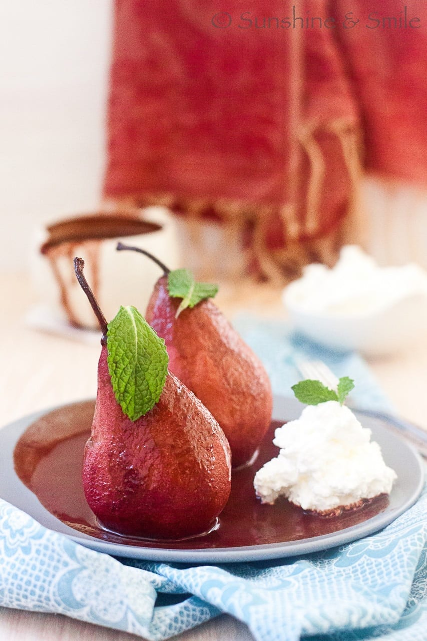 Wine poached Pear with Chocolate and Mint sauce | Playful Cooking