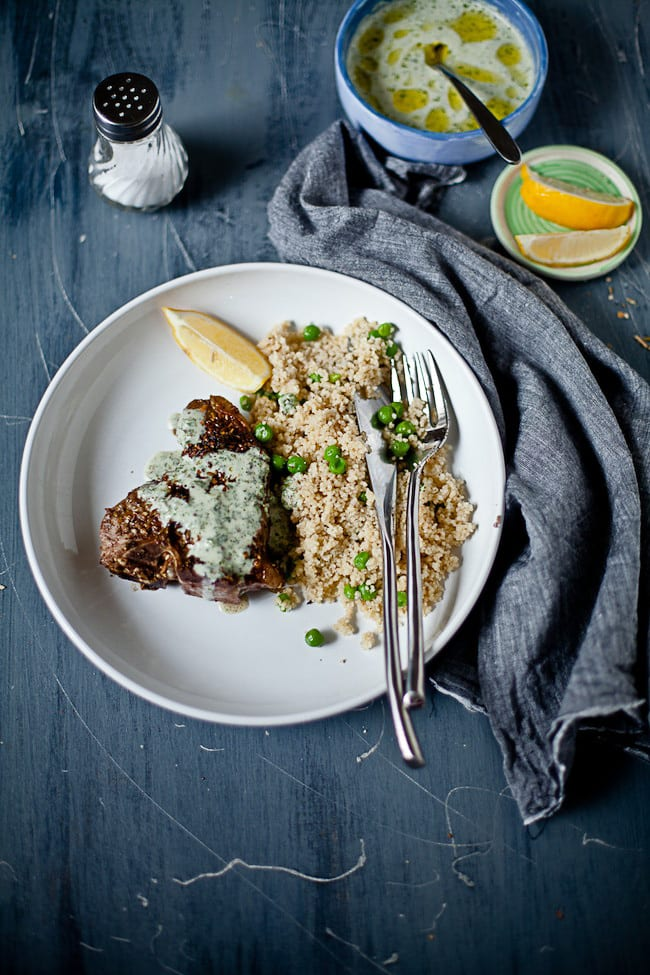 Lamb Chops with Yogurt Mint Sauce and Pea Couscous by Sunshine and Smile