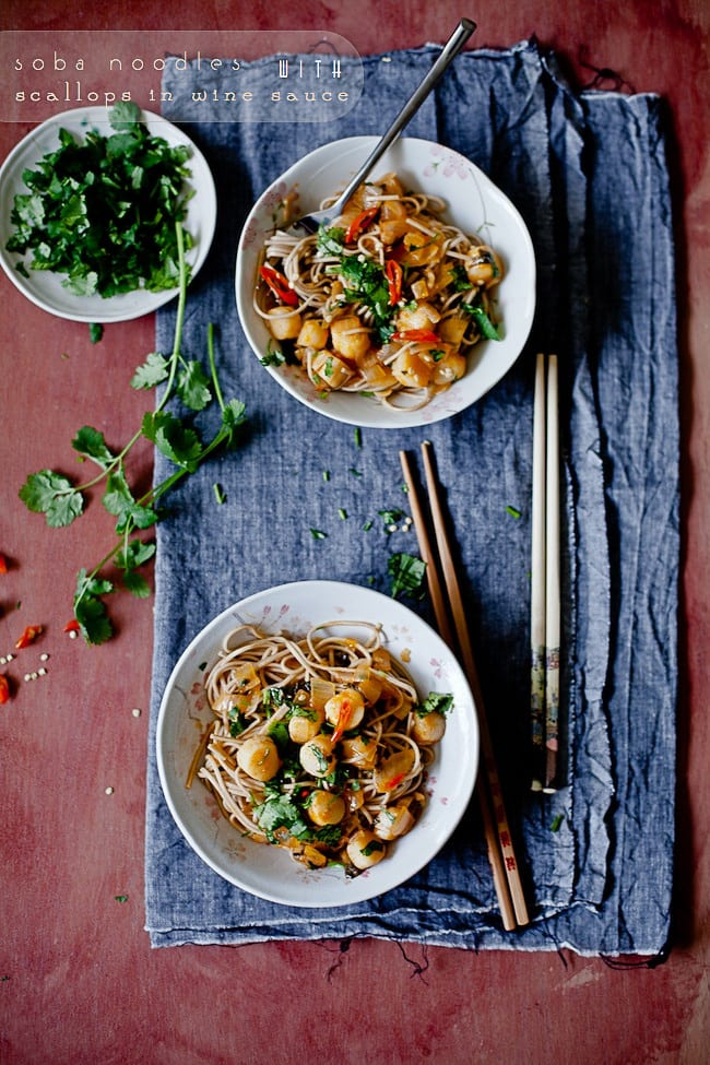 Soba Noodles with Scallops in Wine Sauce | Playful Cooking
