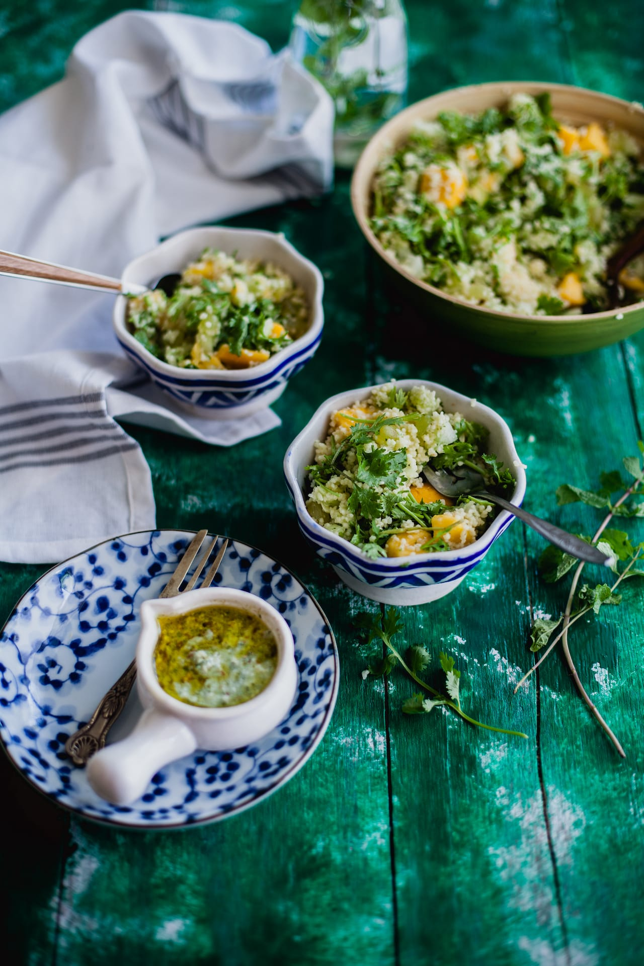 Fruity Couscous Salad with Tomatillo Sauce | Playful Cooking