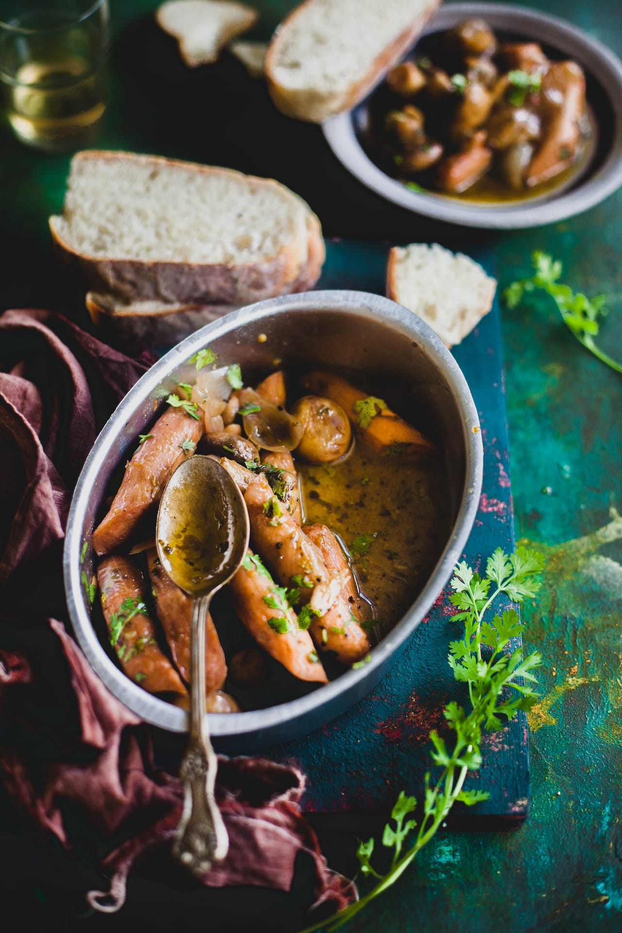 Mushroom And Sausage In Garlic Wine Sauce | Playful Cooking