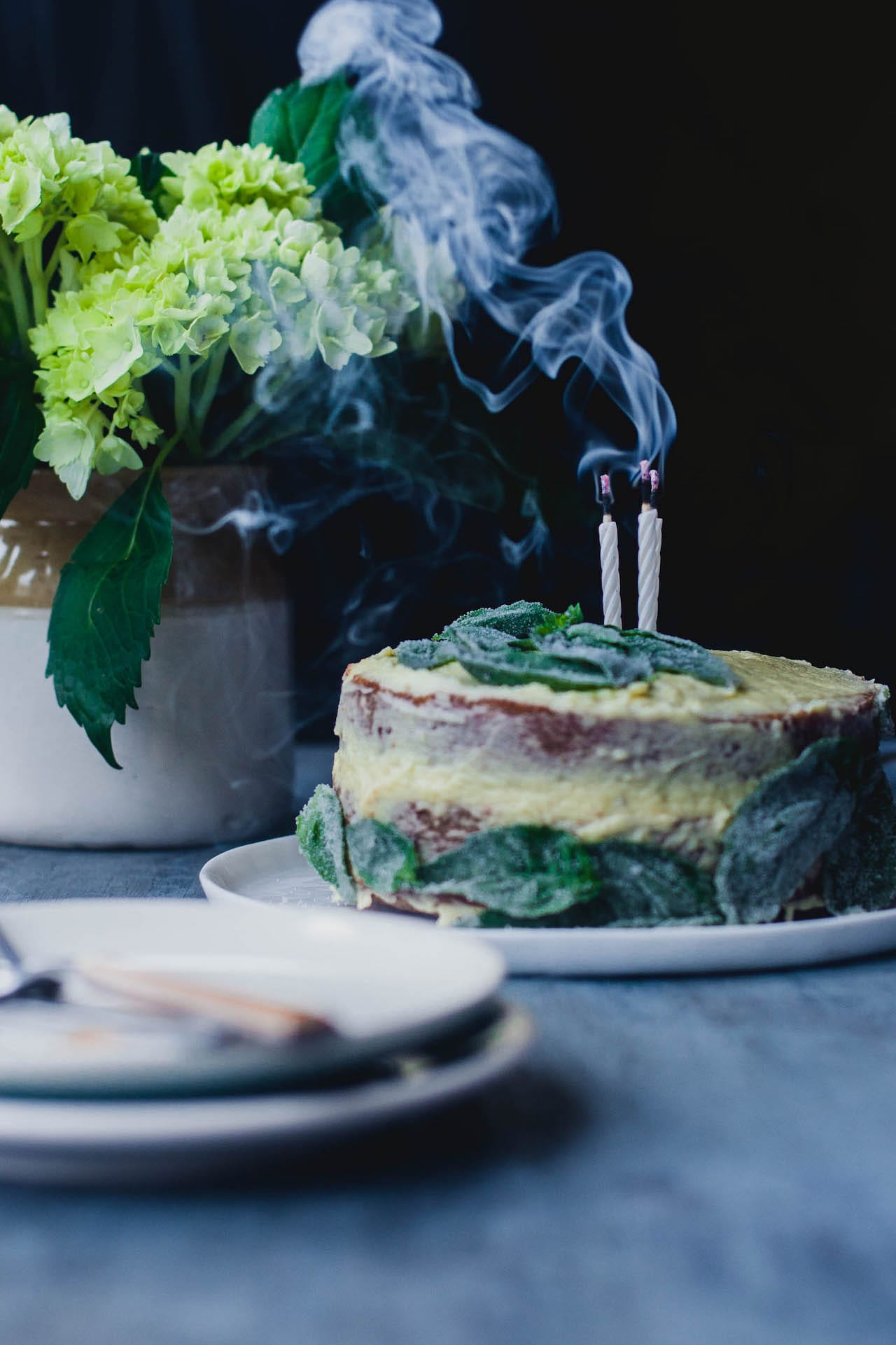 Lemon Cake With Basil Mascarpone Frosting | Playful Cooking