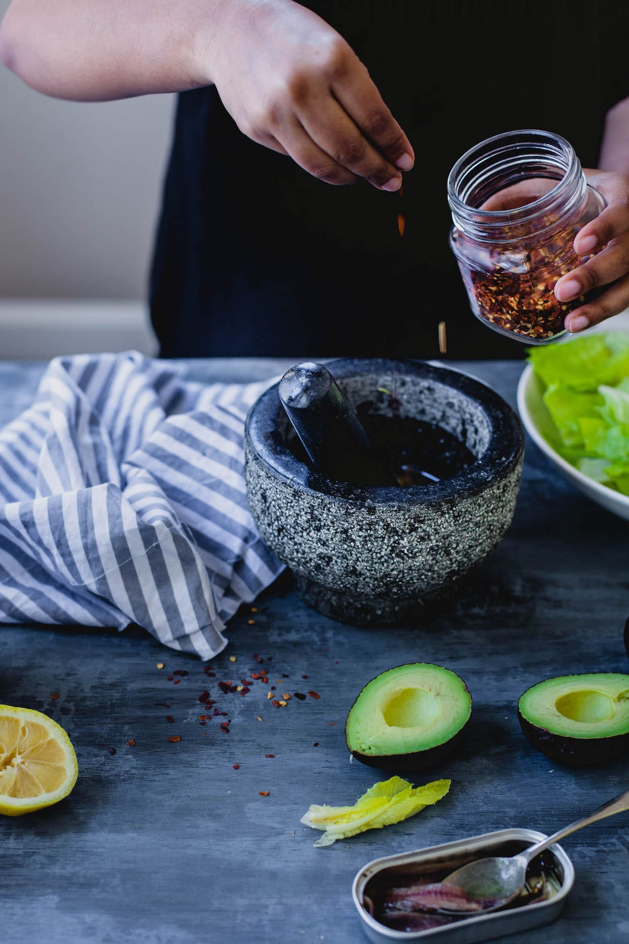 Romaine Avocado Salad With Anchovy Dressing   Playful Cooking
