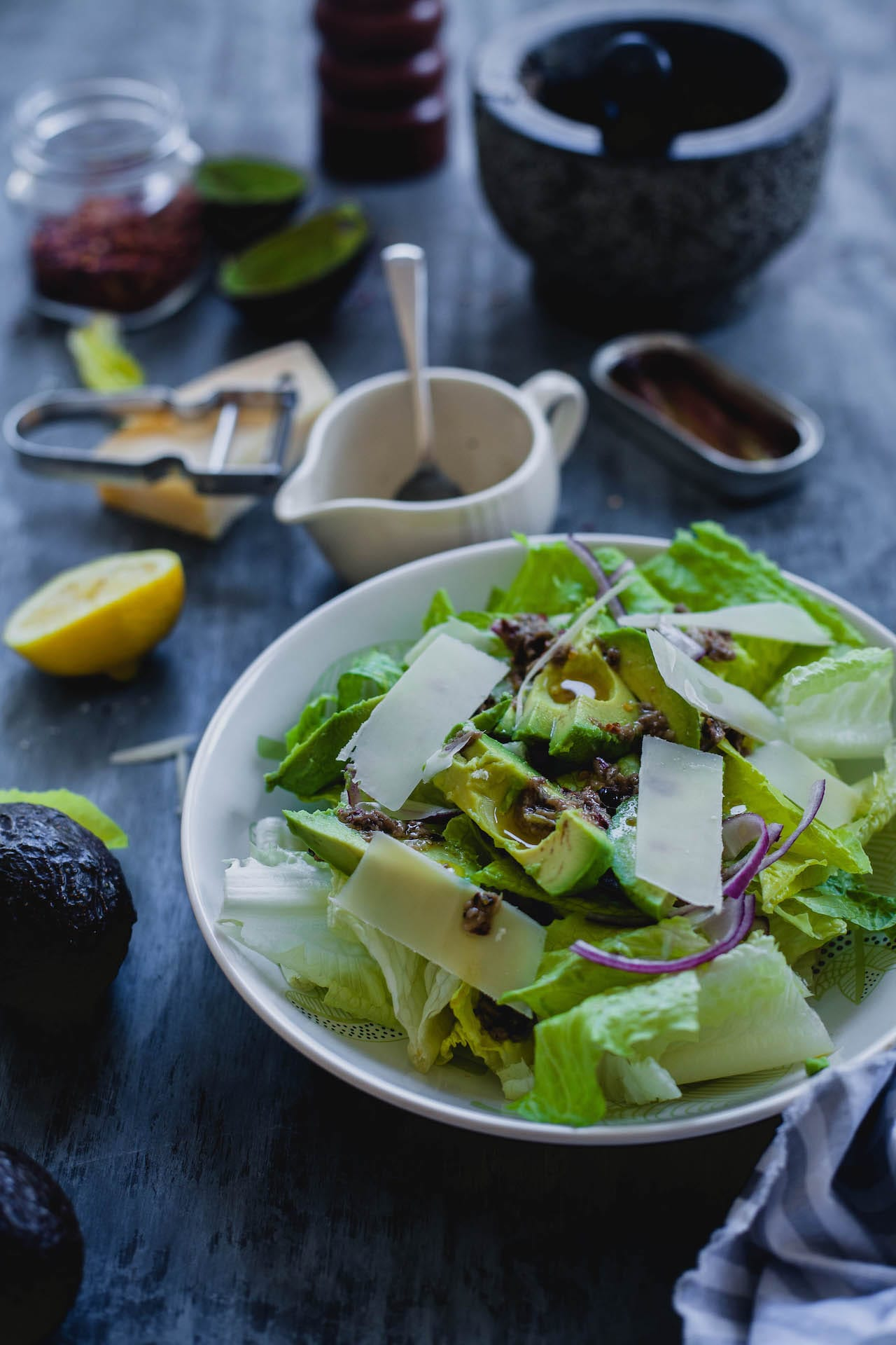 Romaine Avocado Salad With Anchovy Dressing | Playful Cooking