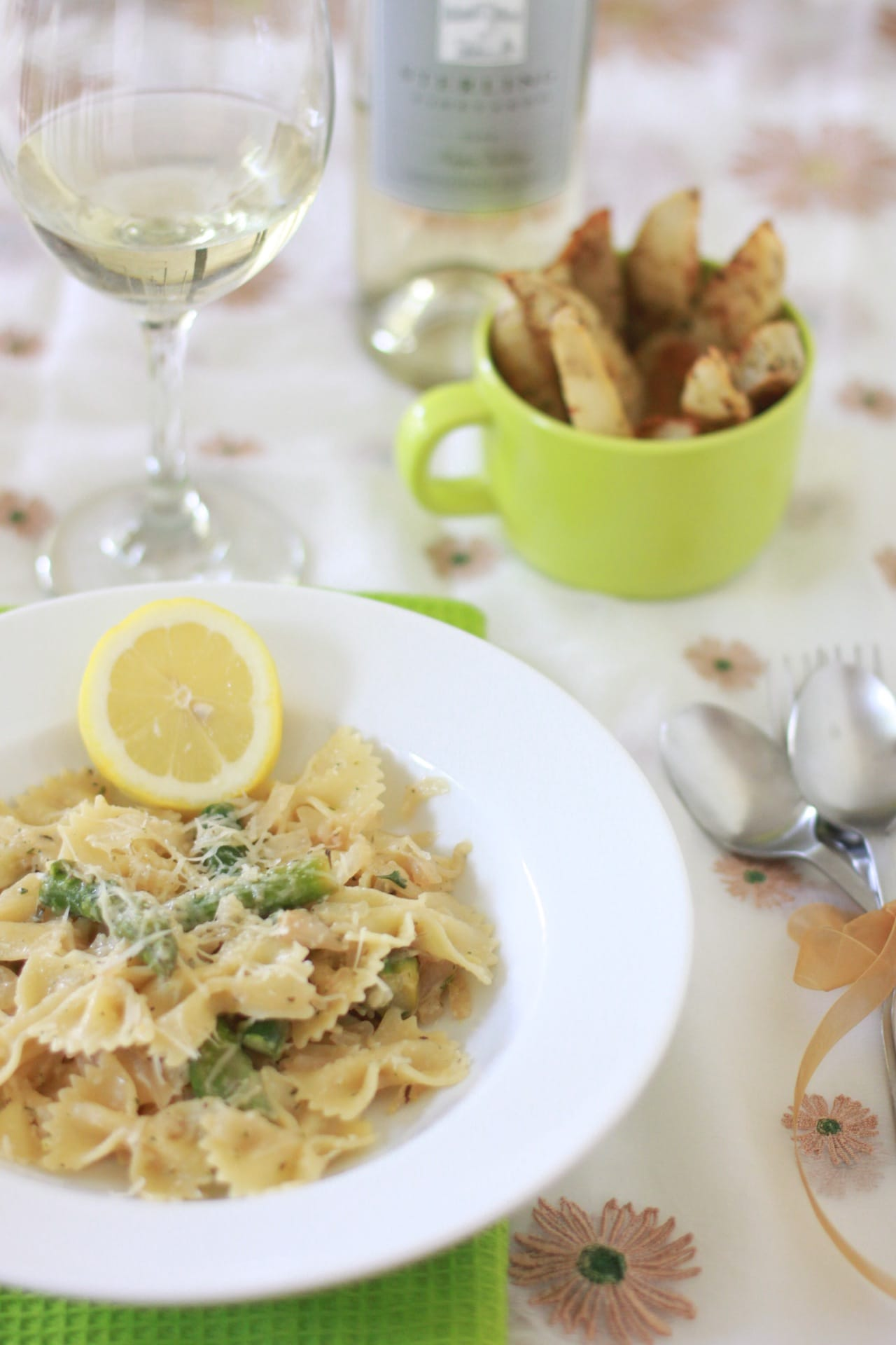 Bowtie Pasta with Baked Potato Wedges 1