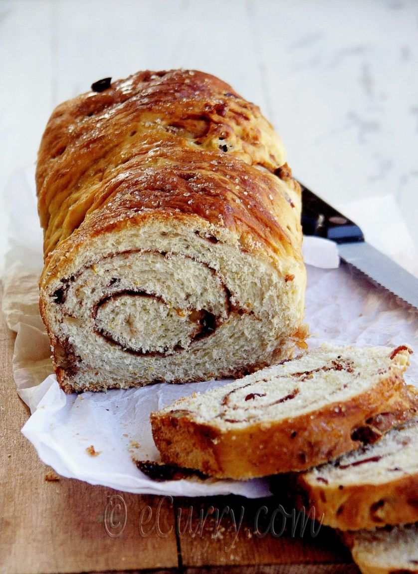 Spiced Cranberry and Nut Swirl Bread - Guest Post by Soma @ eCurry 11