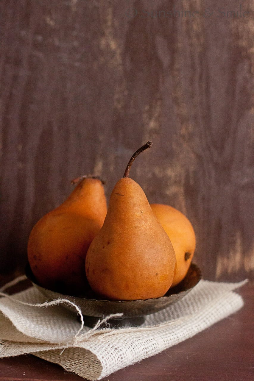 Wine poached Pear with Chocolate and Mint sauce 3