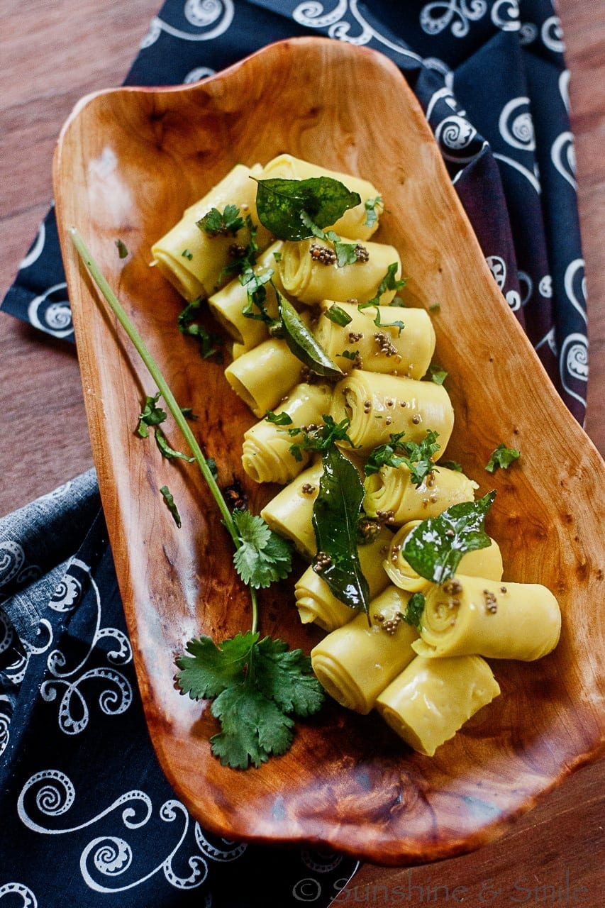 Khandvi (A healthy finger food from India) - Guest Post for Tamara @ Bite My Cake 1
