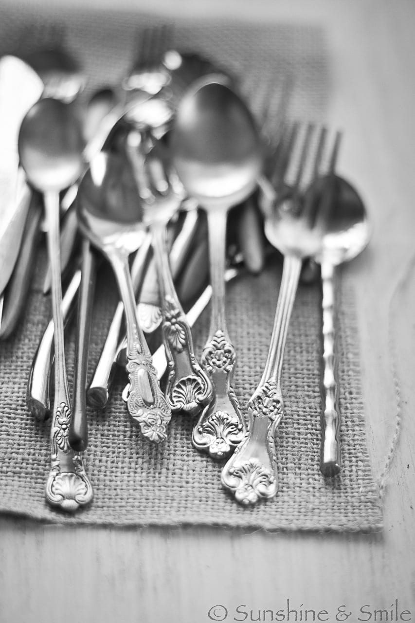 black and white photo of spoon and forks