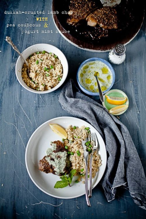 Lamb Chops with Yogurt Mint Sauce and Pea Couscous by Playful Cooking