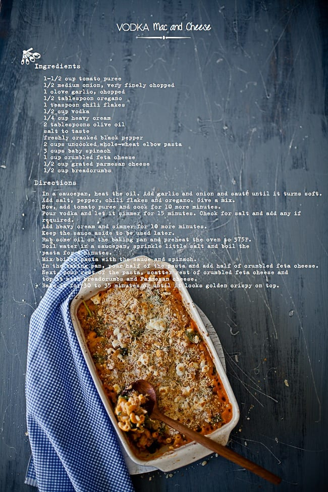 Vodka Mac and Cheese (Recipe Card) @ Sunshine and Smile