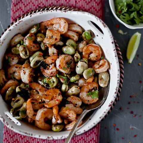 Fava Beans & Shrimp Taco With Mustard Sriracha Aioli | Playful Cooking
