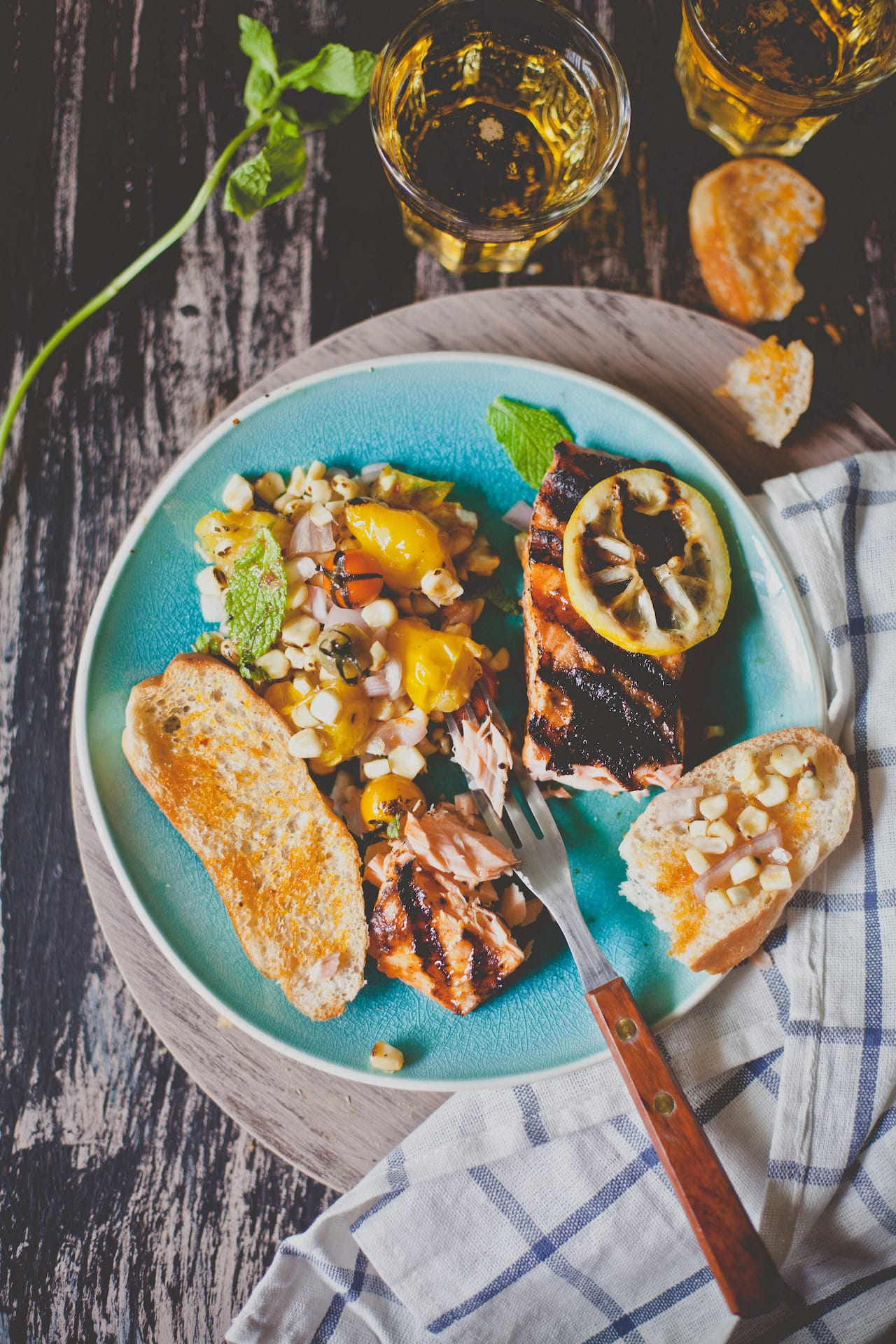 Grilled Salmon with Grilled Corn, Heirloom Tomatoes Salad | Playful Cooking
