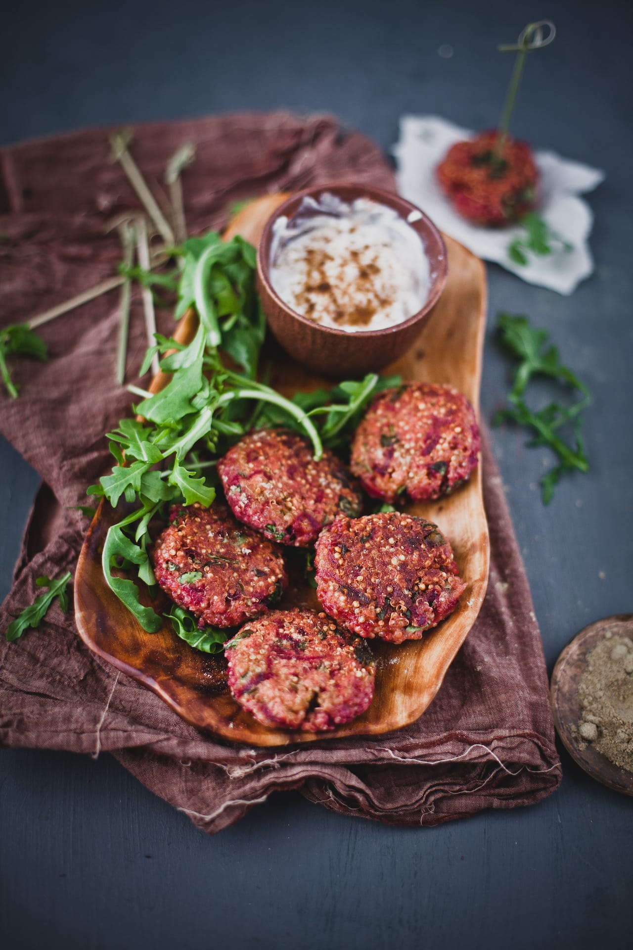 Beetroot Arugula Quinoa Patties | Playful Cooking