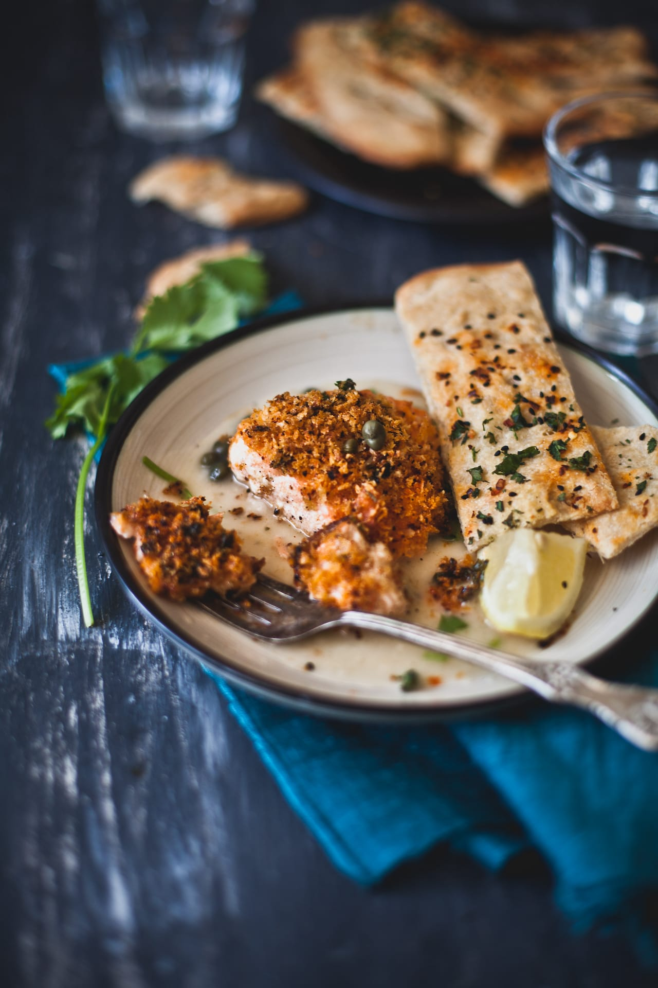 Panko Crust Salmon in Piccata Sauce   Playful Cooking