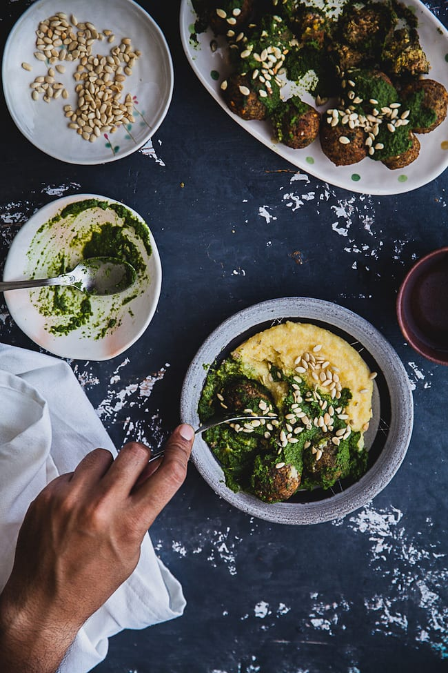 Lentil Fritters With Chimichurri And Polenta | Playful Cooking