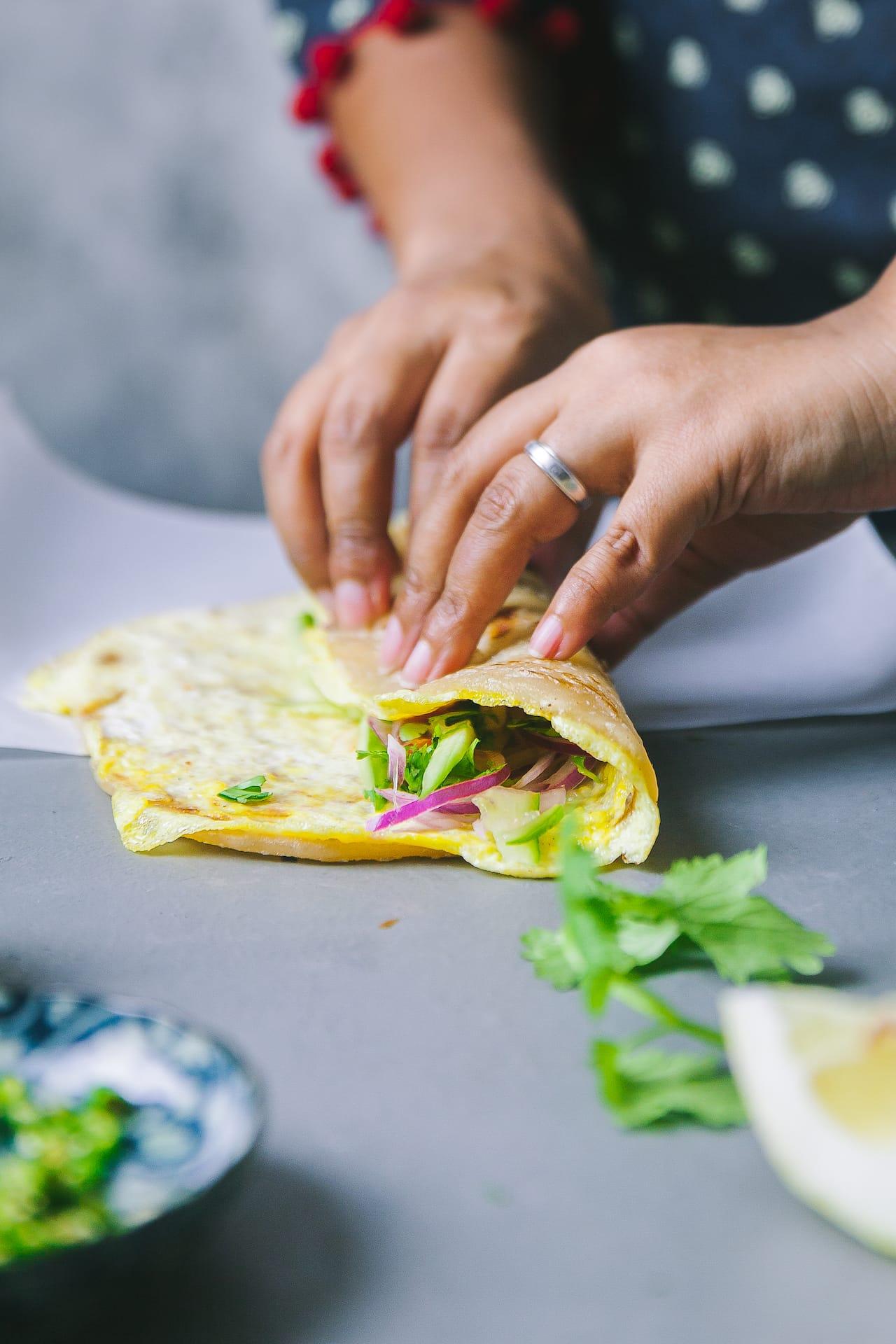 Indian street food made easy at home! #eggroll #foodpotography #kolkata #wrap #vegetarain