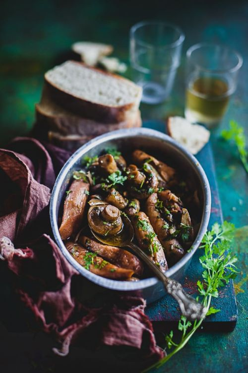 Mushroom And Sausage In Garlic Wine Sauce | Playful Cooking