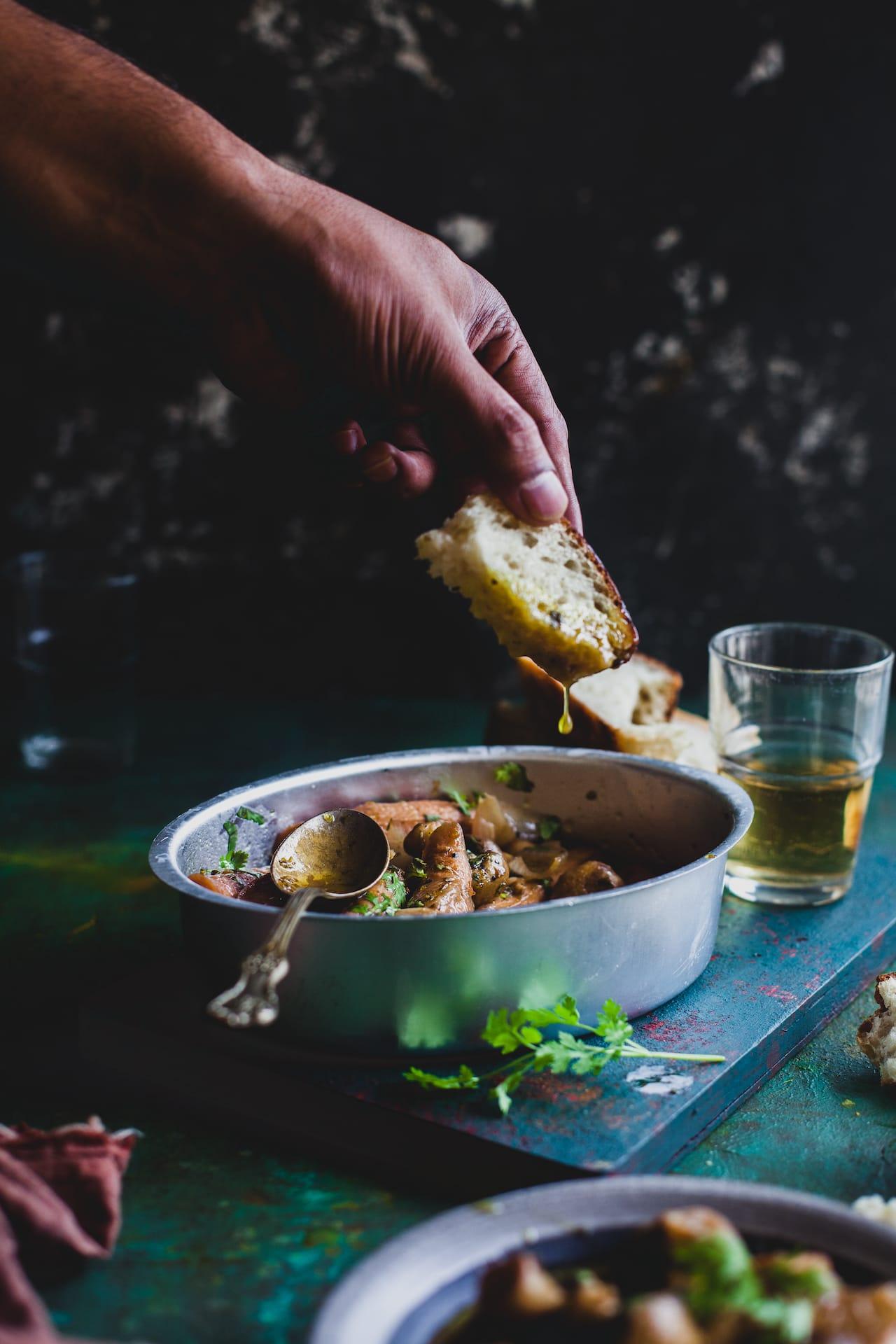 Mushroom And Sausage In Garlic Wine Sauce   Playful Cooking