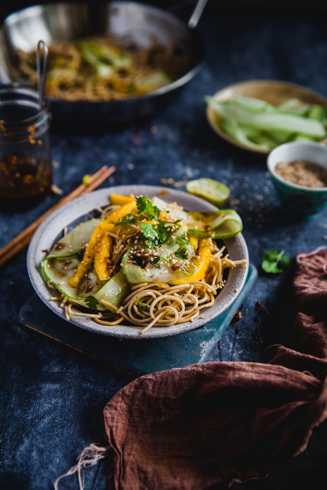 Soba Noodle With Mango Cucumber and Chili Soy Dressing | Playful Cooking