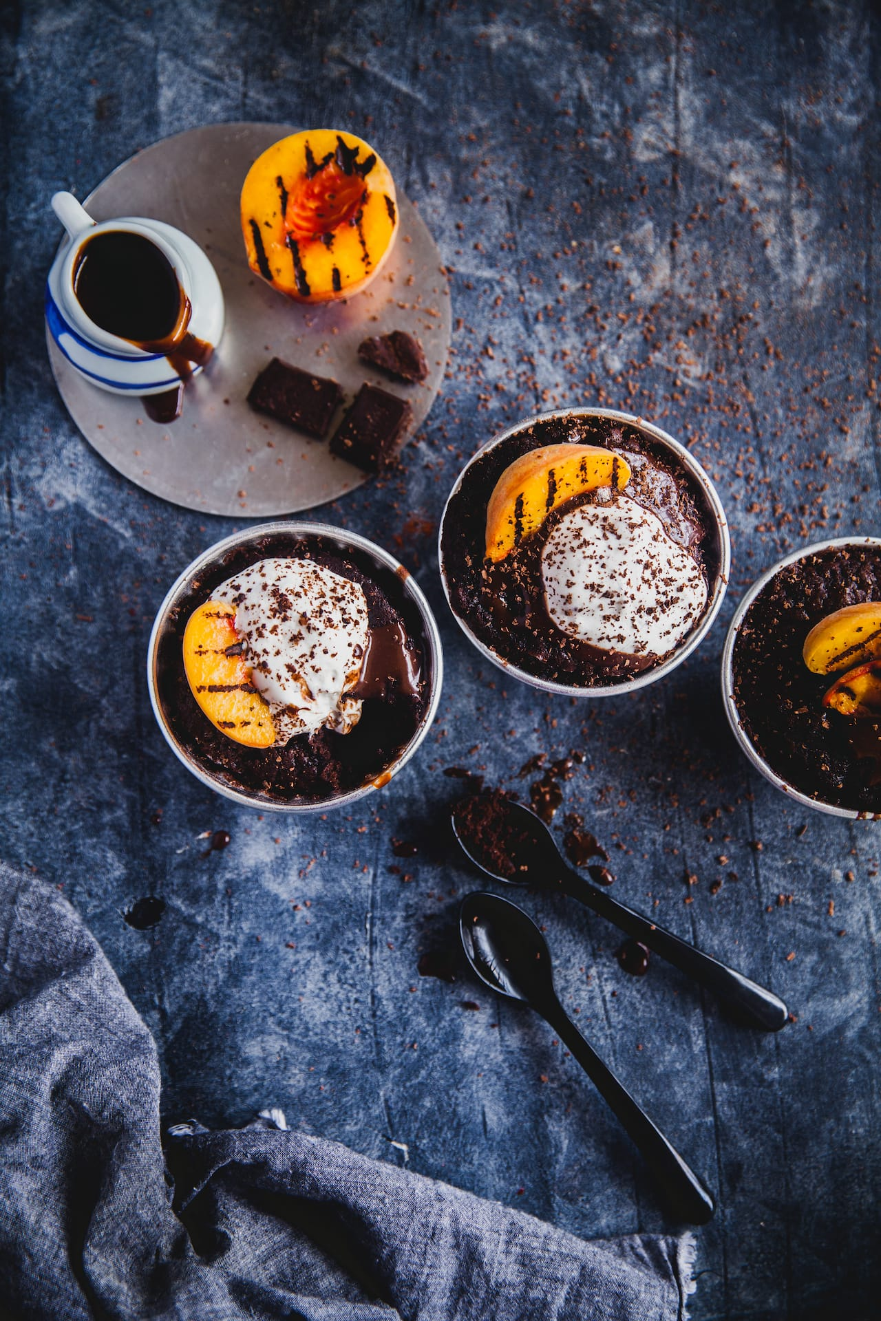 Chili Chocolate Pudding with Grilled Peaches | Playful Cooking