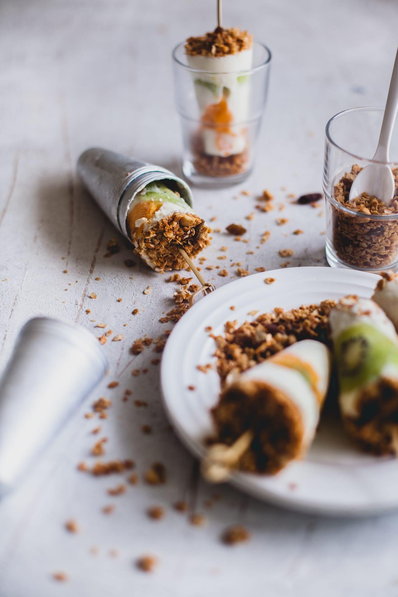 Yogurt Granola Fruit Popsicles | Playful Cooking