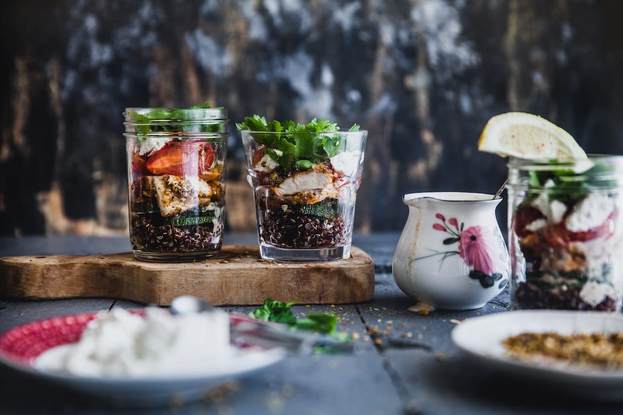 Chicken And Quinoa Mason Jar Salad   Playful Cooking #quinoa #mason #jar #salad #chicken #dukkah