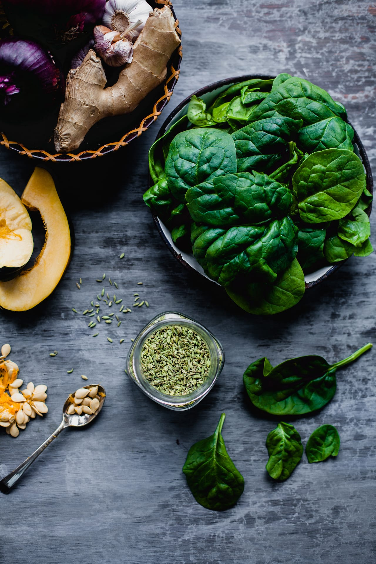 Kumro Palak (Acorn Squash And Spinach Stir Fry) | Playful Cooking #bengali #squash #spinach #indian #foodphotography