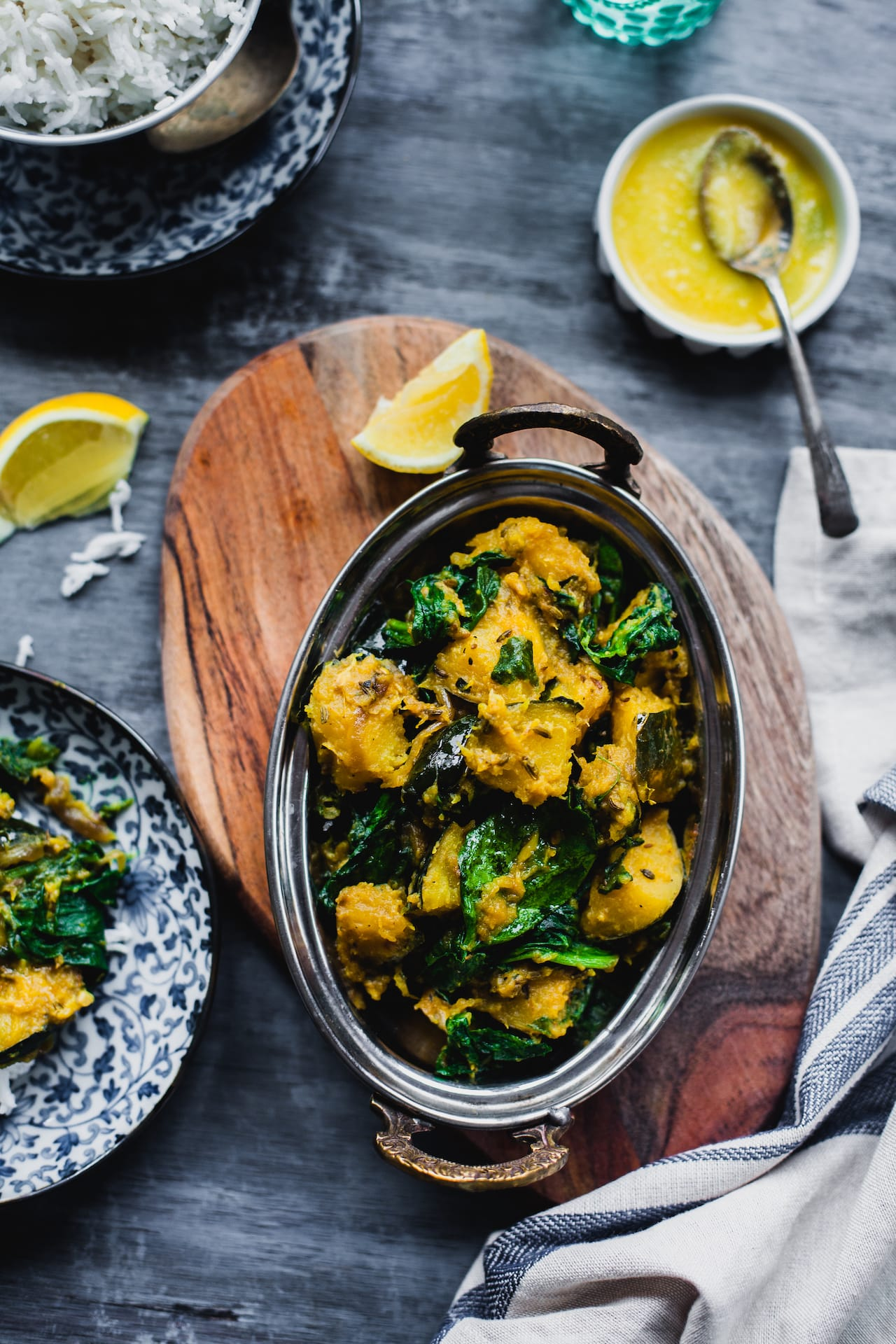 Kumro Palak (Acorn Squash And Spinach Stir Fry) | Playful Cooking #bengali #squash #spinach #indian #foodphotography