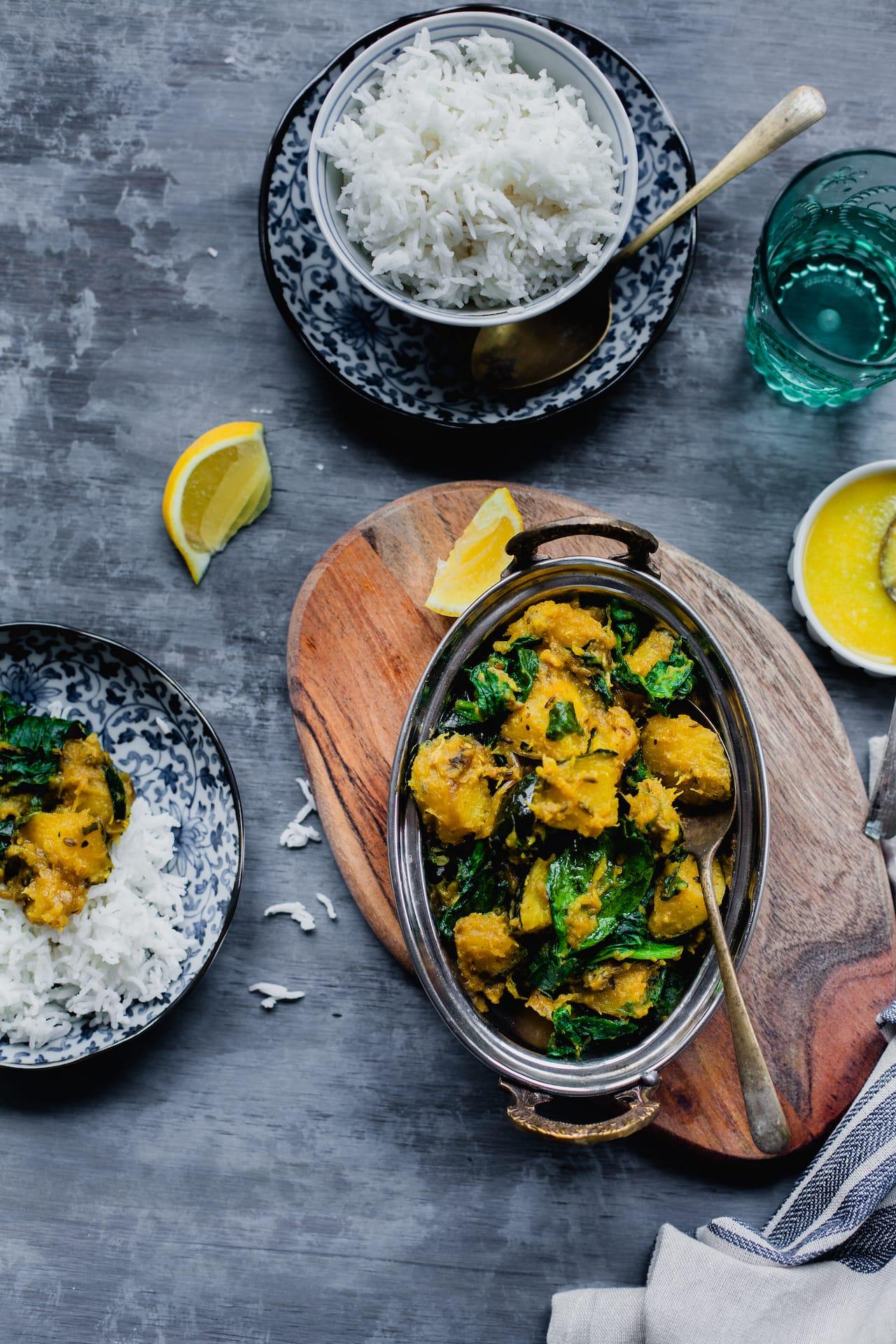 Kumro Palak (Acorn Squash And Spinach Stir Fry) 3
