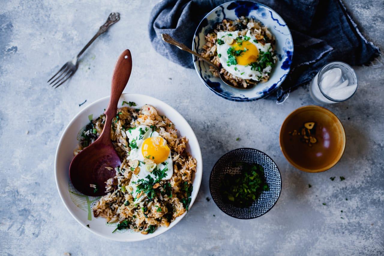 Garlic Swiss Chard Fried Rice | Playful Cooking