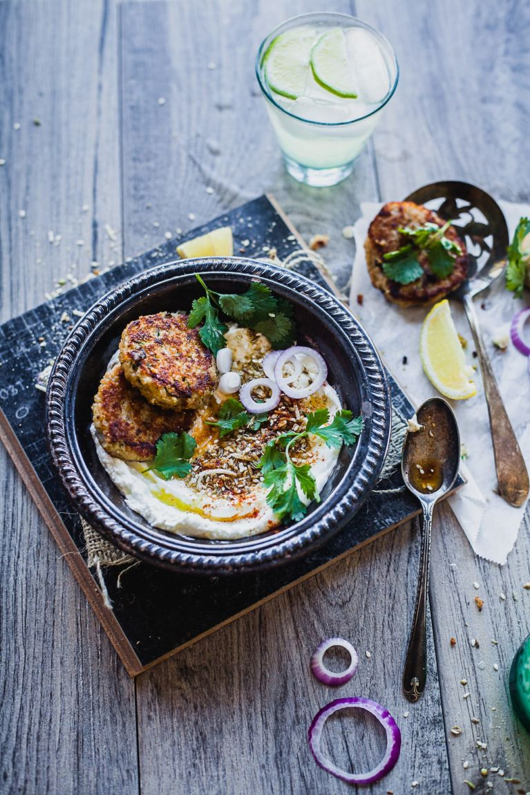 Broken Wheat Dukkah Fritters With Labneh | Playful Cooking