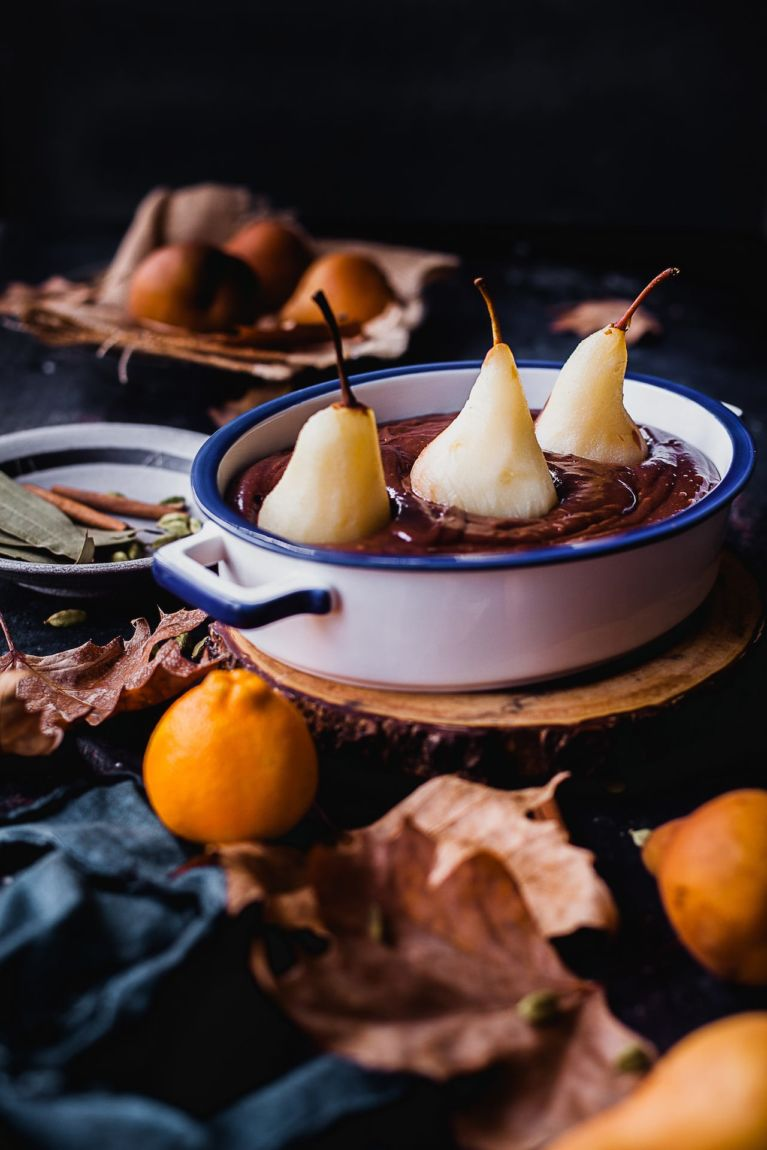 Orange Spiced Poached Pear Chocolate Cake | Playful Cooking