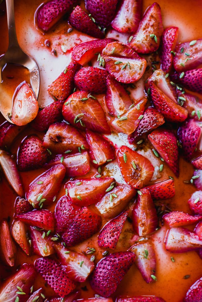 Fennel Roasted Strawberries Labneh Crostini | Playful Cooking