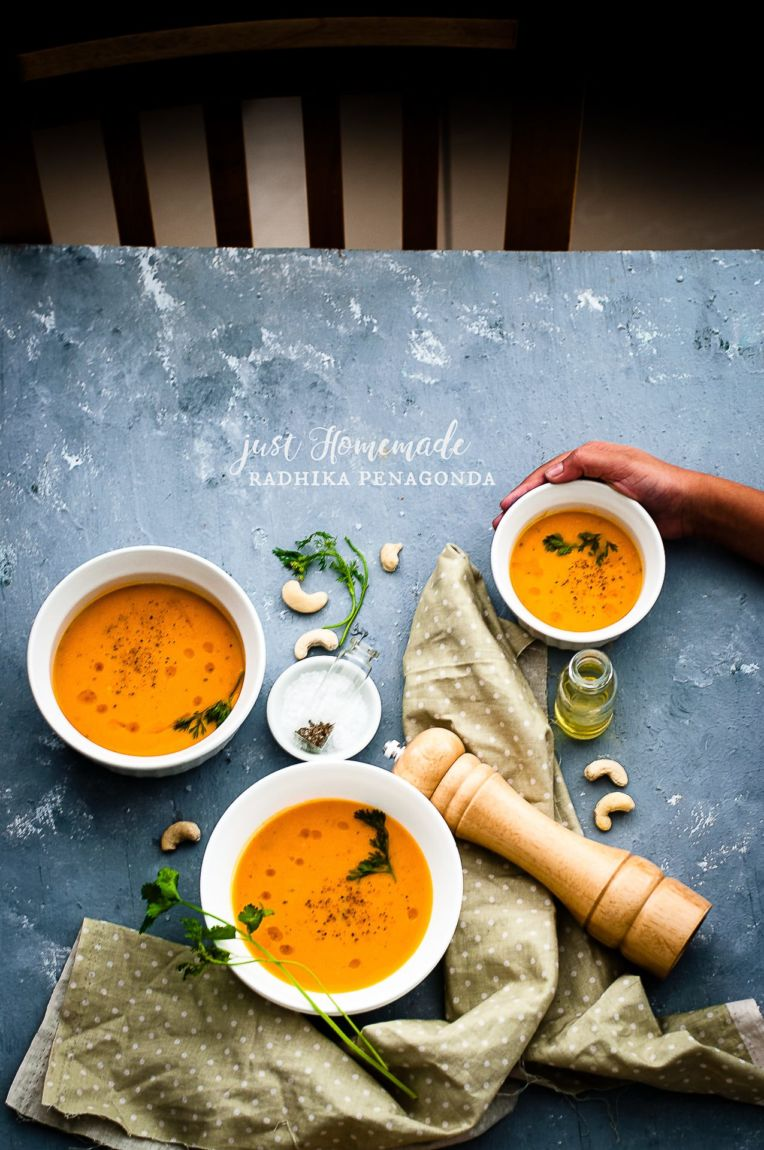 Carrot Cashew Soup (Radhika at Just Homemade) | Playful Cooking