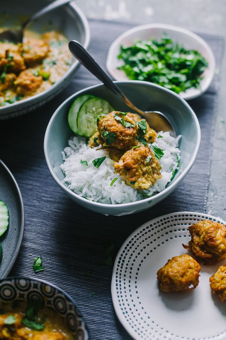Indian curry with bottle gourd served with rice