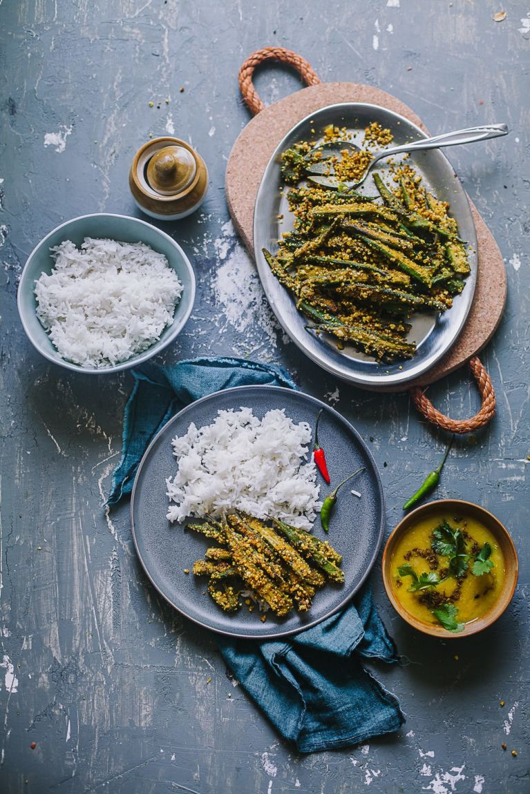 Bengali Style Okra with Peanuts   Playful Cooking