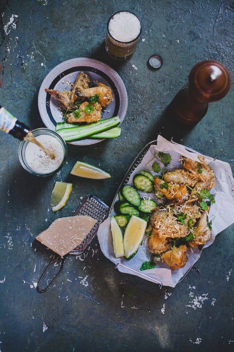 Flat Lay Food Photography | Playful Cooking #chicken #wings #baked #garlic