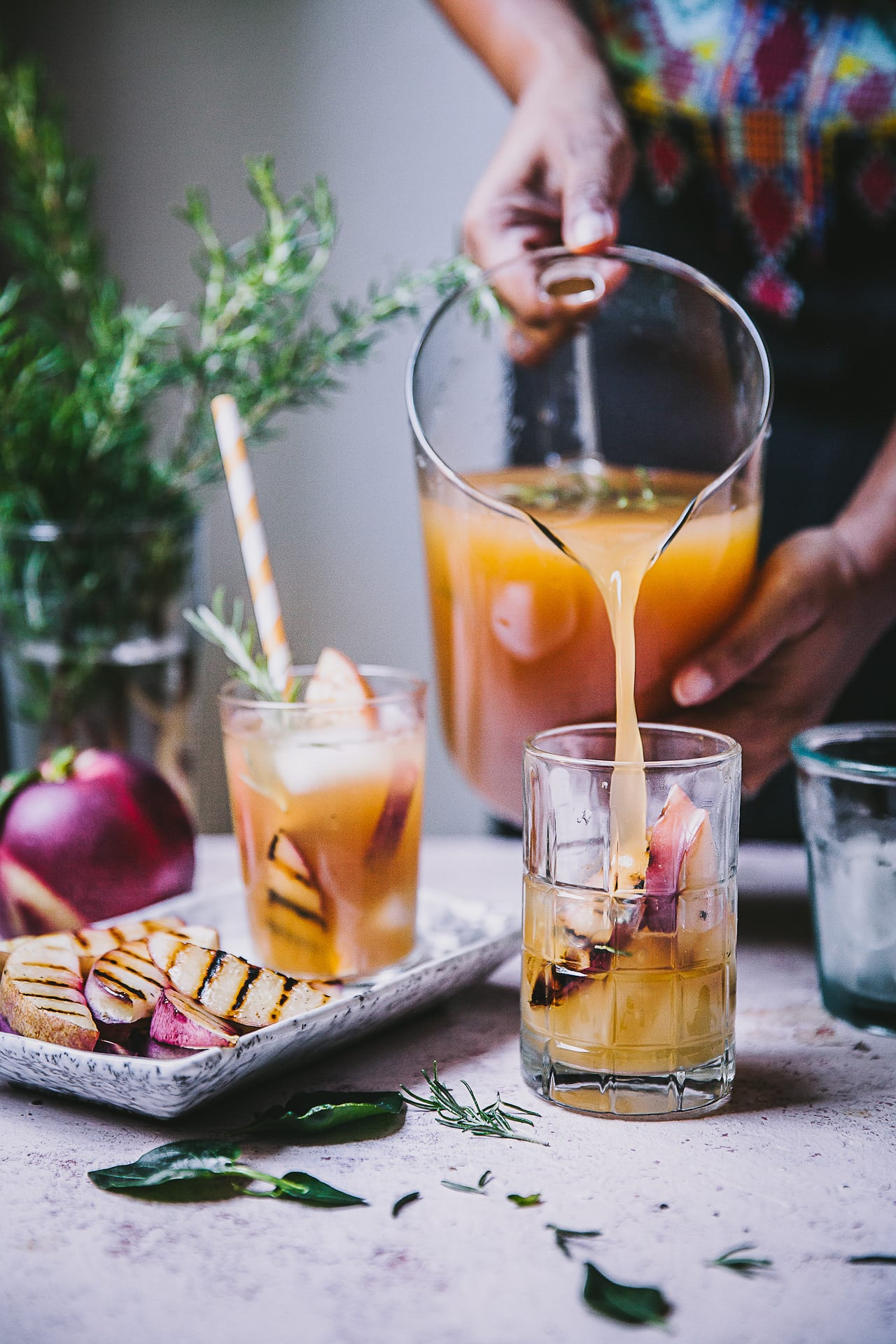 Grilled Nectarine Rosemary Iced Tea | Playful Cooking #summer #drinks #foodphotography #iced #tea #nectarine #rosemary