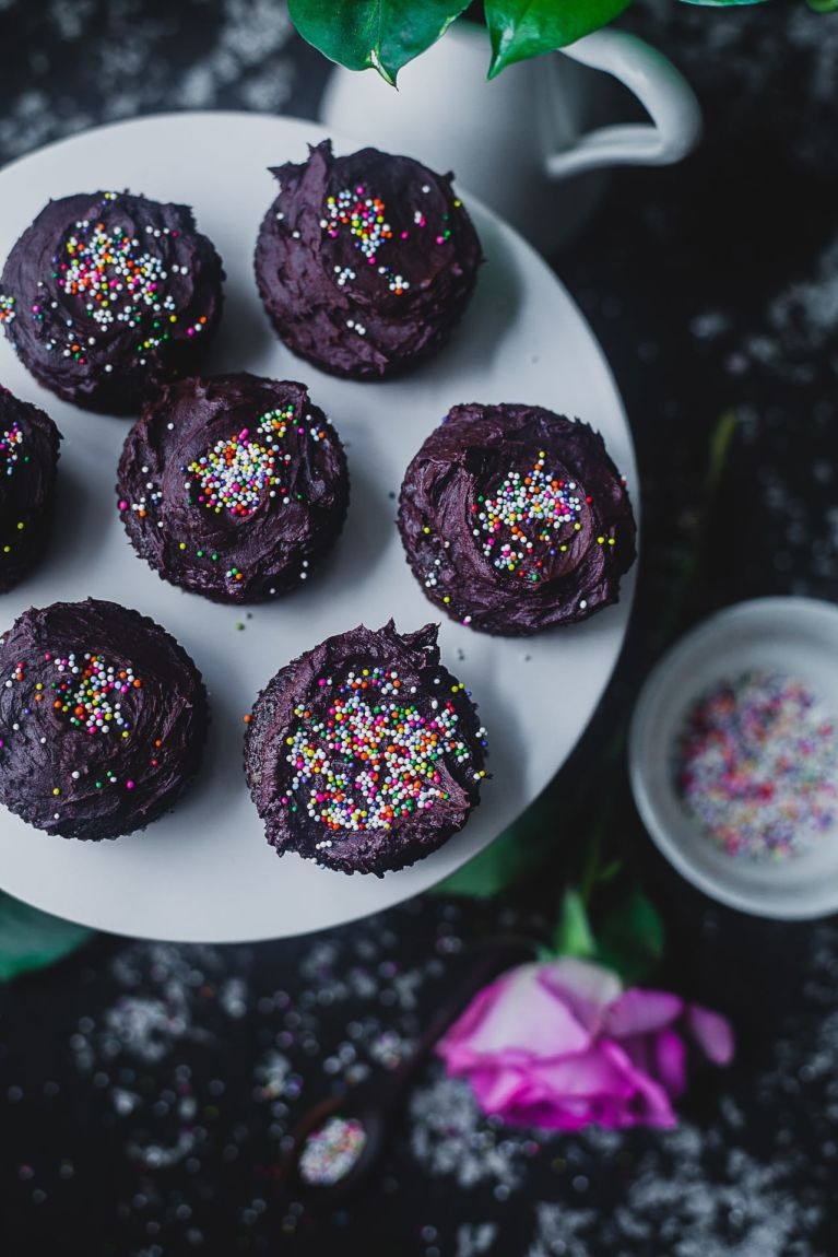 One Bowl Olive Oil Chocolate Cupcakes with Chocolate Frosting | Playful Cooking #cupcakes #chocolate #baking #dessert #onebowl