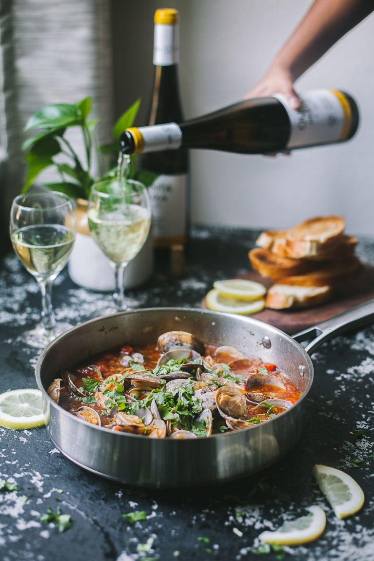 Pour a glass of wine   Playful Cooking #foodphotography #wine #foodphotography #seafood #clams