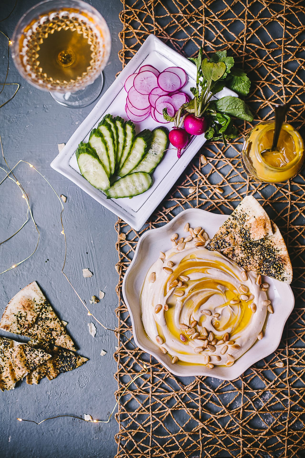 Honey Dijon Hummus with Zaatar Pita Chips | Playful Cooking #hummus #foodphotography #honey #dijon #zaatar #pitachips