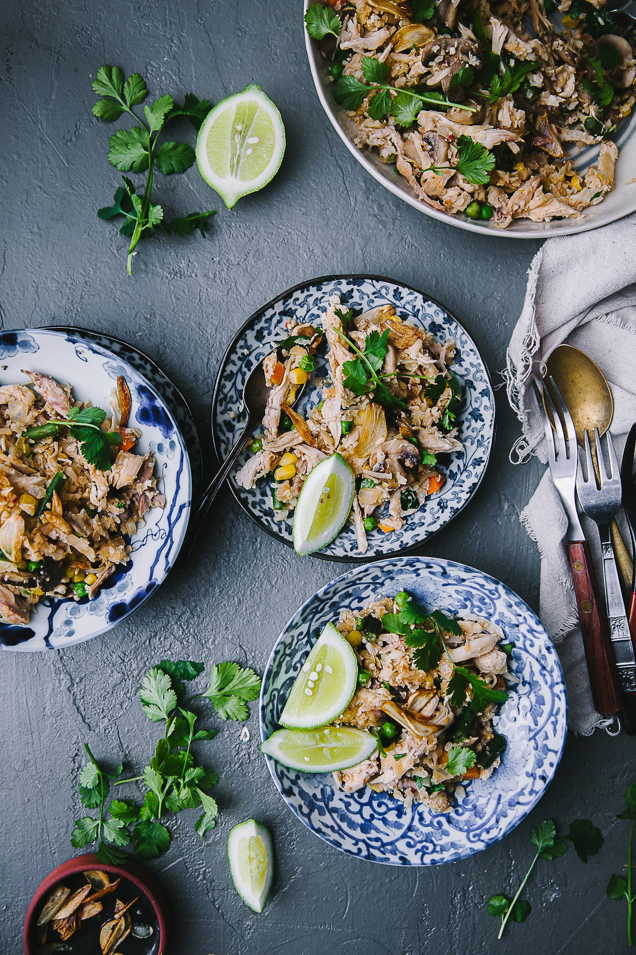 Mushroom Chicken Spiced Cauliflower Fried Rice | Playful Cooking #friedrice #rice #cauliflower #foodphotography #weeknight #keto #glutenfree