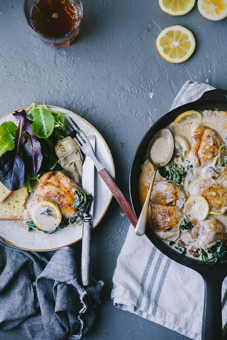 Chicken Artichoke Spinach Creamy Skillet | Playful Cooking #chicken #skillet #foodphotography #artichoke #spinach #foodstyling #playfulcooking