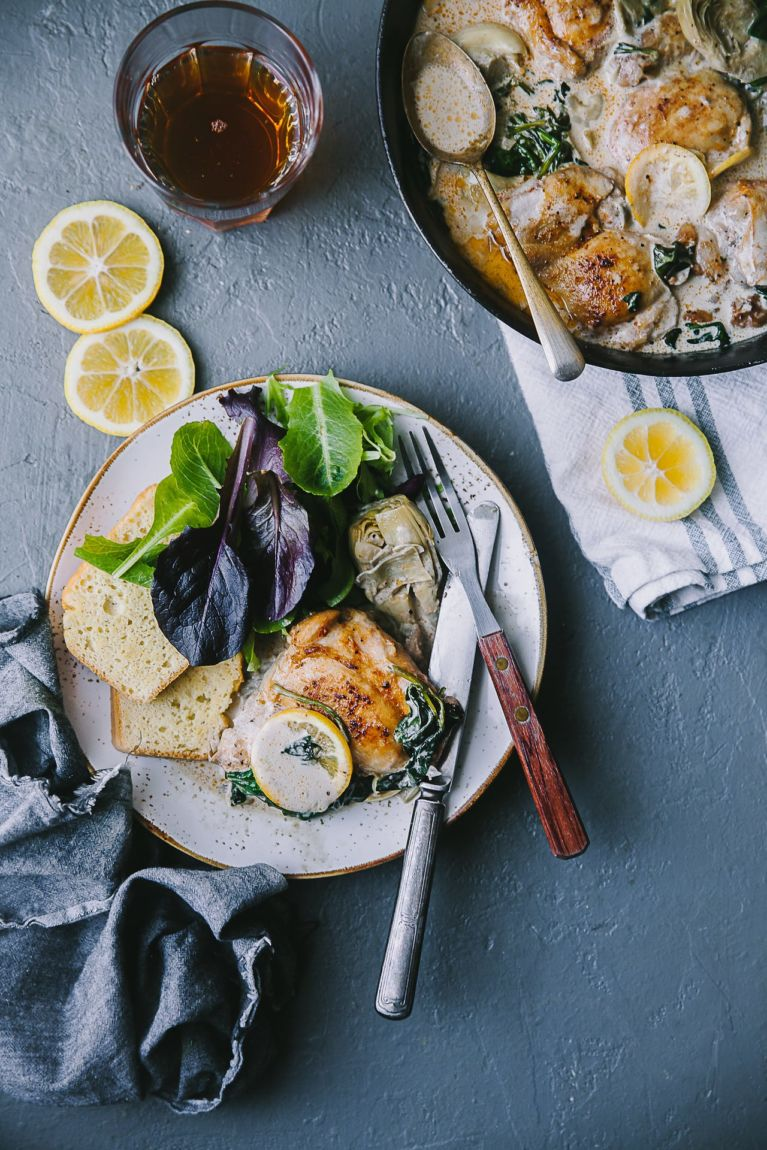 healthy weeknight meal| Playful Cooking #chicken #skillet #foodphotography #artichoke #spinach #foodstyling #playfulcooking