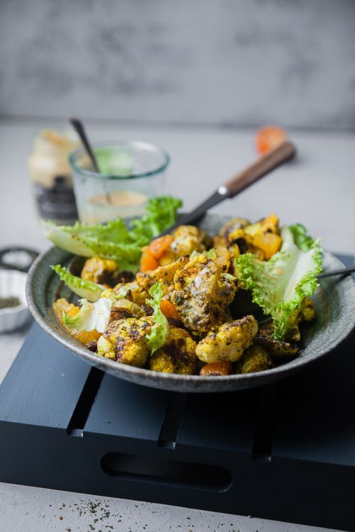 Zaatar Roasted Cauliflower Brussel Sprouts with Maple Mustard Dressing | Playful Cooking #cauliflower #foodphotography #salad #roasted