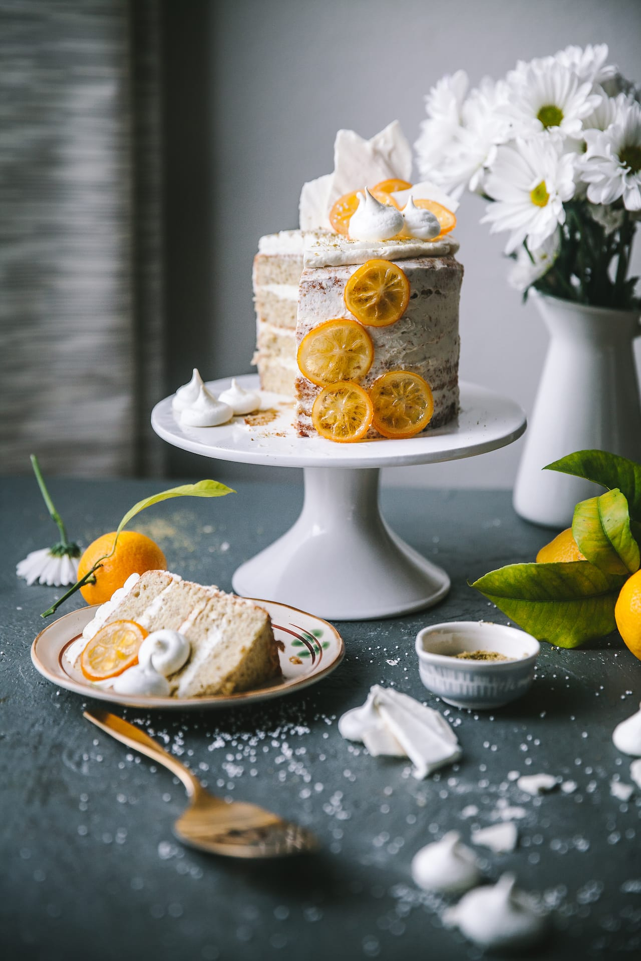 Pistachio Meringue Cake with Mascarpone Lemon Curd Frosting | Playful Cooking #cake #meringue #foodphotography #foodstyling #mascarpone